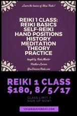 Reiki 1 class$180, 8_5_17